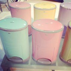 Diaper Dekor diaper pails in pretty pastels... aqua, pink, yellow