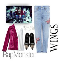 """""""Outfit inspired by BTS Rap Monster WINGS Concept photo"""" by jeoneunmars on Polyvore featuring Citizens of Humanity, Dondup, Versace, Charlotte Russe, wings, bts and rapmonster"""
