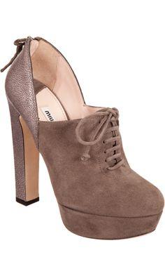 fa3cd0525775 Miu Miu Pebbled Heel Lace-Up Ankle Boot Kate Moss