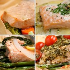 Featuring Parchment Garlic Butter Salmon, Parchment Lemon Dill Salmon, Parchment Tomato Pesto Salmon and Parchment Teriyaki Salmon Baked Salmon Recipes, Fish Recipes, Seafood Recipes, Dinner Recipes, Cooking Recipes, Healthy Recipes, Hallumi Recipes, Hotdish Recipes, Lasagna Recipes