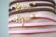 handmade hope leather bracelet