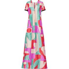 Roksanda - Fluro Printed Silk-blend Satin Gown ($774) ❤ liked on Polyvore featuring dresses, gowns, multi, pink evening dress, satin evening gown, couture dresses, satin ball gown and couture gowns