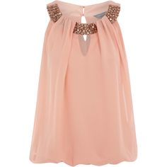 Petite peach embellished top ($26) ❤ liked on Polyvore
