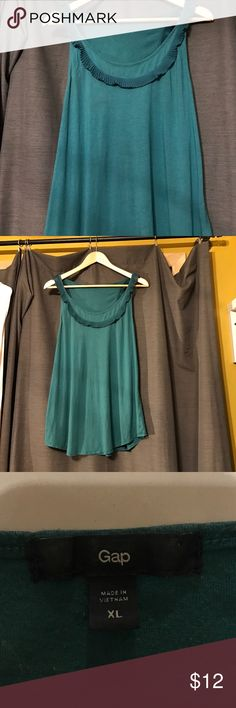 Flirty teal gap top Accordion trim 100% polyester. Shirt 60%cotton 40%modal. Be comfortable and fabulous. GAP Tops Blouses