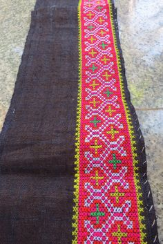 Vintage Hmong Fabric, handmade cross stitch hemp,fabric- textiles,-hill tribal fabric