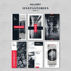 Gray instagram story template kit Premium Psd