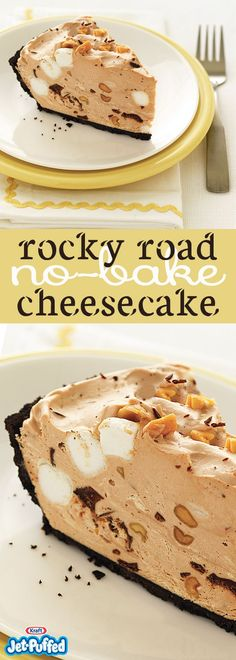Create a Rocky Road No-Bake Cheesecake with little effort. Our Rocky Road No-Bake Cheesecake is studded with delicious chocolate, marshmallows and peanuts. No Bake Desserts, Easy Desserts, Delicious Desserts, Yummy Food, Keto Desserts, Thanksgiving Desserts, Christmas Desserts, Food Cakes, Cupcake Cakes