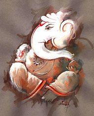 Lord Ganesh 5 - Handpainted Art Painting - 24in X 28in