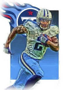 4d1a51ff7 Derrick Henry Print featuring the mixed media Derrick Henry Tennessee Titans  Jersey Number 2 Oil Art