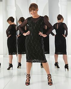 Lorraine Kelly Lace Mesh Panel Dress | J D Williams