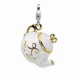 NEW-AMORE-LA-VITA-925-SOLID-STERLING-SILVER-3D-GOLD-PLATED-WHITE-TEA-POT-CHARM