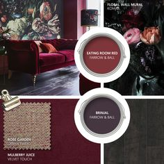 Monday Moodboard - Create some drama with rich berry tones in sumptuous velvet. Add oversized florals - this mural is stunning - and dark accessories for a striking interior theme. Master Bedroom Bathroom, Living Room Bedroom, Living Room Decor, Farrow Ball, Wall Colors, Paint Colors, Beautiful Sofas, Toilet Design