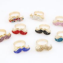 For mustache design lovers! This mustache ring is studded with crystals. #rings #mustache #charmsandstyle #fashion  Available in 6 colours  Material: Crystal Metals Type: Zinc Alloy