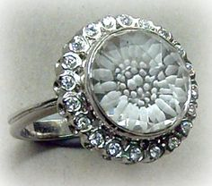 """Bridal"" Quartz reverse intaglio ring"