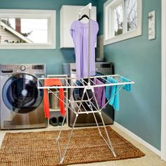 The Everyday Home Stainless Steel Indoor/Outdoor Folding Drying Rack is perfect for air drying clothes. The unique design allows clothes to either hang or lay flat. The rack has three multi use areas