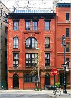 The West Village: 70 Barrow Street, NYC. Built in 1852 as a fire house, by 1880 this building had been converted to an apartment house.