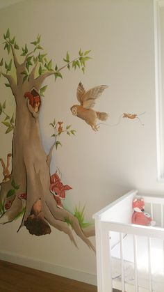 bosdieren boom vos egel uil konijn muurschildering