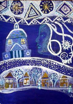 Winter Kids, Winter Art, Drawing For Kids, Art For Kids, Projects For Kids, Art Projects, Winter Jokes, Ukrainian Art, Winter Painting