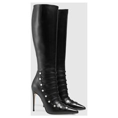 Gucci Leather Knee Boot (138.835 RUB) ❤ liked on Polyvore featuring shoes, boots, black knee high heel boots, black high heel boots, knee high leather boots, black boots and real leather knee high boots