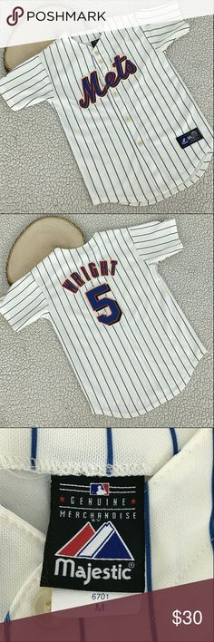 Mets Baseball Jersey Majestic Weight 5 Youth Size Color         : White Blue Style          : Jersey Size           : Youth Medium Brand        : Majestic Materials  : 100% polyester Inventory  : A90 B1 Majestic Shirts & Tops Tees - Short Sleeve