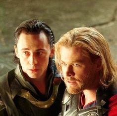 Brothers of Asgard.  (Tom Hiddleston and Chris Hemsworth)