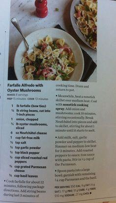 ** Farfalle Alfredo with oyster mushrooms recipe **