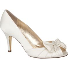 Ivory Nina Forbes Bridal Shoes http://www.bellissimabridalshoes.com/bridal-shoes/ivory-nina-forbes-bridal-shoes is a peep-toe design with a low heel and a pleated bow accent. #bellissimabridalshoes.com