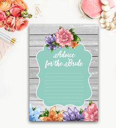 Bridal Shower Activity – Words of Advice for the Bride - Aqua Wood Grain Floral – Instant Download Printable