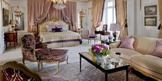 Hôtel Plaza Athénée's elegant Royal Suite, which was inspired by the beauty of Paris. The entire suite is decorated with French Regency furniture, French antiques, gold embroidery and rich fabrics from the oldest family-owned business in the country.  - Veranda.com