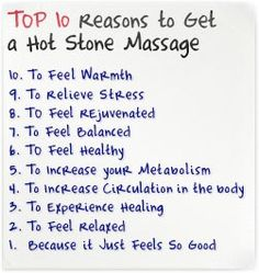 Top 10 Reasons To Get A Hot Stone Massage! Come to Pressure Point Massage Therapy in Southfield, MI for a FANTASTIC massage! Call us NOW at (248) 358-8800 to book your appointment! Feel free to visit our website www.pressurepointmassagetherapy.com for more information!
