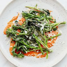 Grilled Broccoli Rabe with Salsa Rossa @keyingredient #tomatoes
