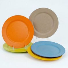Bamboo Composite 8'' Salad Plates Set of 5 Assorted by 180 Degrees. $16.99. Long-lasting alternative to traditional plates. Set contains 5 plates -Orange, yellow, green, blue & beige. For home, picnic, camping, a party or everyday use. Made primarily from bamboo fibers, one of the most renewable natural resources on the planet. Nontoxic, durable, sustainable, 100-percent biodegradable and compostable.