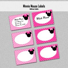 Minnie Mouse Inspired Address Labels, Pink - Printable PDF