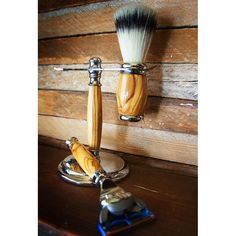 Olive Wood Shaving Set With Premium Silver Tipped Brush Set For Gillette Fusion