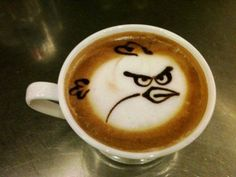 First it was Darth Vader latte art, then it was Batman latte art, then came some Stormtrooper latte art and now we have some Angry Birds latte art! I think the detail on this Angry Birds latte probably makes it Read More . Coffee Latte Art, I Love Coffee, Coffee Break, My Coffee, Coffee Cups, Cappuccino Art, Morning Coffee, Coffee Talk, Espresso Latte