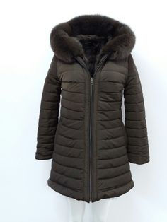 Reversible parka with real raccoon fur. Handmade by DOLLAS FURS in kastoria Greece