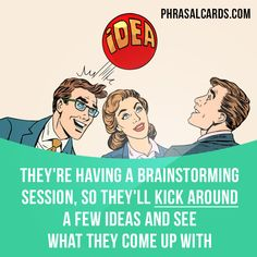 """""""Kick around"""" means """"to discuss ideas or options in an informal way"""". Example: They're having a brainstorming session, so they'll kick around a few ideas and see what they come up with. Get our apps for learning English: learzing.com"""