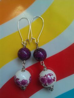 Purple Lucite and Pink Floral Porcelain Beaded Earrings ($22)