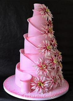 Modern Wedding Cakes Swirled - sugar flowers - Wedding Cake- Cake by Dana Tuháčková - Marzicake - Amazing Wedding Cakes, Wedding Cakes With Flowers, Elegant Wedding Cakes, Wedding Cake Designs, Wedding Cake Toppers, Amazing Cakes, Sugar Flowers For Cakes, Flower Cakes, Elegant Cakes
