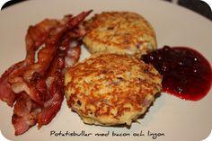 Potatisbullar med bacon & lingon