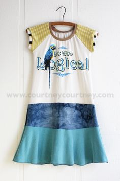 parrot talk #courtneycourtney #eco #upcycled #recycled #repurposed #tshirt #vintage #dress #girls #unique #clothing #ooak #designer #upscale #silkscreen