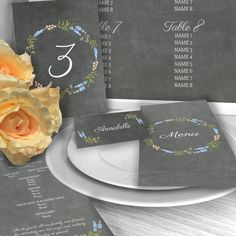 PERSONALISED WEDDING STATIONERY  The Floral Blackboard design is perfect for couples looking for a Rustic feel to their day. The flowers can be changes to any 2 colours you like. See the the colour palette in the pictures We can personalise the fonts or other features if you have something special in mind   -----------------------------------------------------------  DETAILS Table Plan - Board: 5mm Fomex Board Matt - Print: High Quality - Size: A1  Table Numbers  - Paper: 280gsm Nettuno…