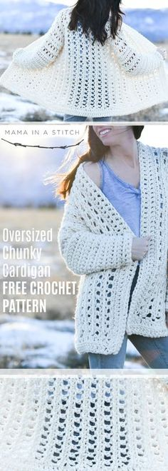 This simple cardigan is easy to crochet and I love the oversized look of it! The pattern is made with super bulky yarn so it works up quickly too. via # bulky yarn crochet patterns Light Snow Oversized Cardigan Crochet Free Pattern Crochet Cardigan Pattern, Crochet Jacket, Crochet Shawl, Crochet Yarn, Crochet Stitches, Free Crochet, Crochet Sweaters, Ravelry Crochet, Crochet Beanie