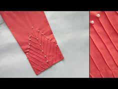 Beautiful trouser design with pearls Kurti Sleeves Design, Sleeves Designs For Dresses, Kurta Neck Design, Blouse Neck Designs, Sleeve Designs, Silk Saree Blouse Designs, Fancy Blouse Designs, Dress Designs, Salwar Designs