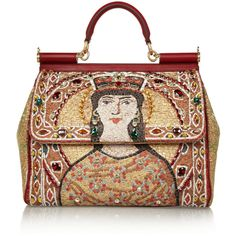 Dolce & Gabbana The Sicily large embroidered tote ($2,705) ❤ liked on Polyvore featuring bags, handbags, tote bags, dolce & gabbana, purses, totes, gold, red leather purse, red leather handbag and leather tote purse