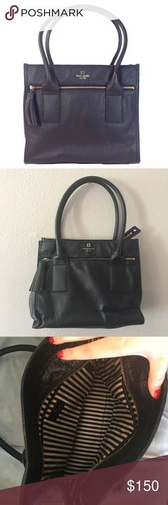 Kate Spade Black Leather Tassel Shoulder Bag So cute and perfect for any season! Light wear to handles but otherwise in great condition! Striped interior. No trades!! 010516250gwb kate spade Bags Shoulder Bags