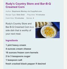 Rudy's cream corn copycat recipe