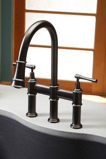 Elkay pull-down bridge faucet in antique steel. LKEC2037 Gerhardsstore.com