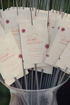 DIY Sparkler Cards.  Put your going away message or instructions on these and put them out for your guests.  What a simple and inexpensive touch to add some fun.  Any of my wedding sets have table seating cards that could be customized for this purpose.