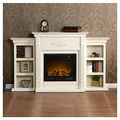 Wildon Home   Conway Electric Fireplace with Bookcases ; Antique Ivory